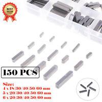 15 Sizes -150Pcs Round Ended Feather Key Drive Shaft Parallel Woodruff Keys AU