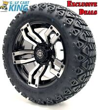 "Golf Cart Wheels and Tires Combo - 14"" Madjax Velocity Machine/Black - Set of 4"