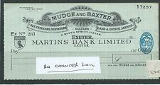 wbc. - CHEQUE - CH245 - UNUSED -1951 - MARTINS BANK, EXETER -special - NO C'FOIL