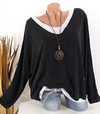 Pullover Damen Feinstrick Pulli Top Kette 40 42 44 46 Vintage Oversize schwarz