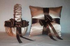 Champagne Satin / Brown Trim Flower Girl Basket & Ring Bearer Pillow