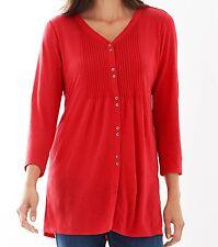 J Jill Top XL Red NEW Long Tunic Shirred Back Linen Pullover Shirt May Fit 1X