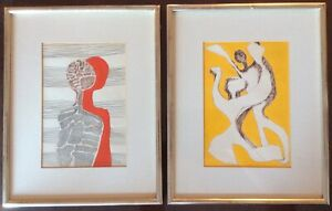 Pair Mid Century Modern Abstract Expressionist Original Paintings; Signed Dated