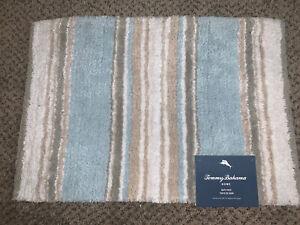 Tommy Bahama Home 17 x 24 Bath Mat Rug Blue White Tan Striped Cotton NWT