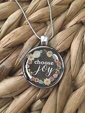 Choose Joy Positive Energy Happy Flower Glass Pendant Silver Chain Necklace NEW