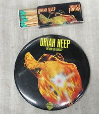 Uriah Heep Return To Fantasy 1975 Us Promo Button & Matchbox Set Ken Hensley