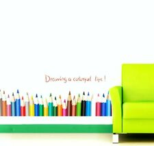 Color Pencils Wall Decal 3D Sticker Childs Bedroom Craft Room Peel & Stick