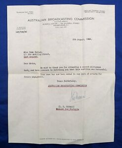 ABC AUSTRALIAN BROADCASTING COMMISSION LETTER > DAWN BUTLER; SUCCESSFUL AUDITION