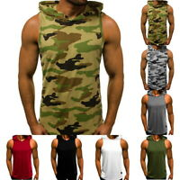 Men Gym Sleeveless Top Vest Summer Slim Fitness Hoodie Bodybuilding Tank Top GI
