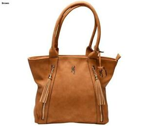 Browning Concealed Carry Purse, CCW Gun Handbag Tan Faux Leather Alexandria