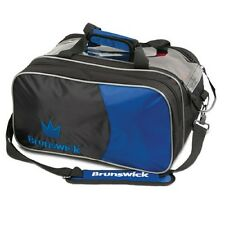 Brunswick Crown 2 Ball Tournament Tote Bowling Bag with Shoe Pocket Blue