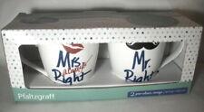 Pfaltzgraff: Mr. Right & Mrs. Always Right 18-oz. Porcelain Mugs: 2017: MIB: NR
