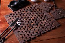 Set of 8 NATURALS Slatted Dark Wood PLACEMATS & 8 COASTERS (16 Pcs Set)