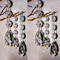 10PCS Clear Glass Crystal Chandelier Lamp Part Prisms Pendant Drop Decor 38mm