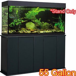 ftAquarium Stand 55 Gal Fish Tank Large Standing Pet Storage Cabinet Wood Black