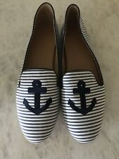 J.CREW FACTORY Addie Printed Anchor Loafers Blue/White Stripe Flats 9