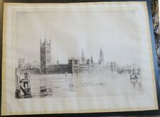 SIGNED ORIGINAL ETCHING BY FREDERICK FARRELL,THAMES,WESTMINSTER PALACE,BRIDGE SF