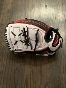 "Wilson A2000 Superskin 12.25"" Fastpitch Softball Glove/Mitt LHT (Black/Grey/Red)"
