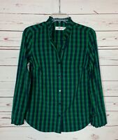 Vineyard Vines Women's 0 Green Navy Plaid Button Long Sleeve Top Shirt Blouse