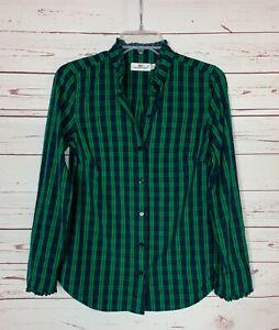 Vineyard Vines Women's 0 Green Navy Plaid Button Long Sleeve Top Shirt Blouse