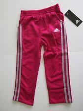 NWT Adidas Little Girl's 6 3 Stripe Athletic Pants Magenta Bottoms Dark Pink
