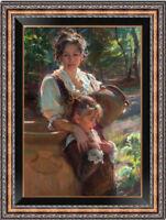 "Hand painted Original Oil Painting art Impressionism Mum girl on canvas 24""x36"""