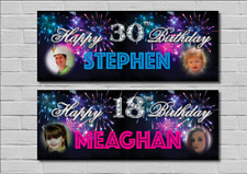 Large Personalised Birthday Party Banner Decorations Fireworks ANY NAME/AGE