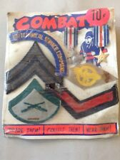 "Vintage Vending Display Card ""Combat"" Army Badge Medal Military"