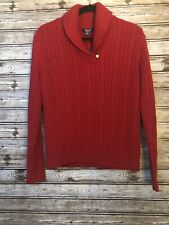 Chaps Red Cable Knit Long Sleeve Sweater With Gold Button Sz L