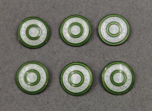 Art Deco Sterling Silver White & Green Enamel Guilloche Buttons Lot/6