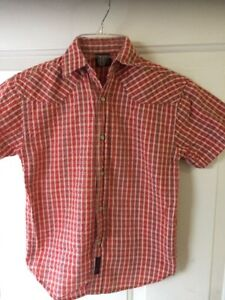 Wrangler Pearl Snap Button Down Plaid Shirt Sz Small Red Cowboy Western Rodeo