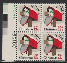 #1730 Rural Mailbox 13c Christmas Issue of 1977 Block /4, 2 Plate #s,  MNH