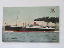 """c1905 Canada postcard Quebec to Weyburn Sask """"RMS Corsican"""" Allan Line flag Fine"""
