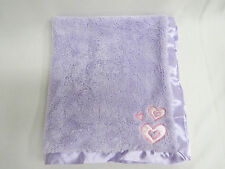 LULLABY CLUB LAVENDER PURPLE BABY SECURITY BLANKET SATIN TRIM BACK HEARTS LOVEY