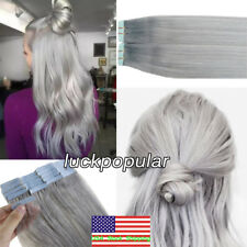 Seamless Invisible Tape in Skin Weft Remy Human Hair Extensions Grey 18Inch20Pcs