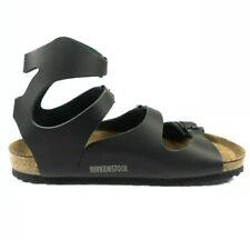 Birkenstock Athen Sandals Leather Smooth Shoes Gladiator Black Ankle Strap Thong
