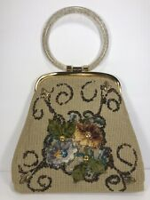 Vintage Beaded & Tapestry Purse w/ Gold Glitter Lucite Handle ~ Tapestry Flowers