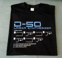 RETRO SYNTH T SHIRT SYNTHESISER DESIGN D50 S M L XL XXL