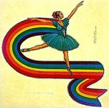 Original Vintage Rainbow Ballerina Iron On Transfer Ballet Dance