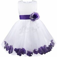 #6 Kids Infant Girls Purple Flower Petals Tulle Formal Wedding Pageant Dress