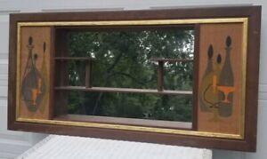 Vintage Mid Century Modern Molding Wall Shelf Mirror Shadow Box Bar
