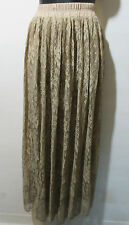 Skirt Fits XL 1X 2X Plus Maxi Length Full Body Lace Lined Stretch Beige NWT 6003