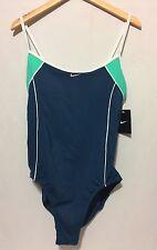Nike Woman Padded Bra  Maillot Swimsuit Aqua Navy, Sea Form, White 42/16