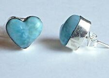 Sterling Silver Blue Larimar Heart Stud Post Earrings