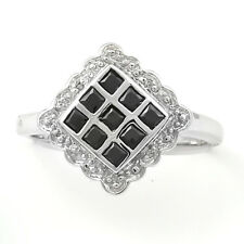 Black  & White Cubic Zirconia Ring, Sterling Silver