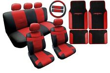 18PC Synthetic Leather Black Red Car Seat Covers Steering Wheel Floor Mats HS