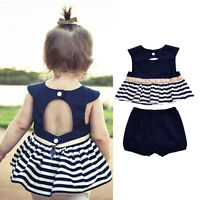0-18M Summer Newborn Baby Girl Navy Blue Dress Top+Pants Outfit 2Pcs Set Clothes