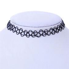90s Tattoo Choker Stretch Necklace Black Cord Retro Henna Elastic Boho Gothic