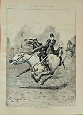 Horses, Sidesaddle, The Runaway, by Sanguinetti, Vintage 1895 Antique Art Print