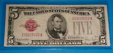1928 F $5 United States Note ! ,Large Red Seal,Circ. Very Fine ! OLD US CURRENCY